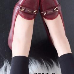 รองเท้าคัทชูส้นเตารีด หัวตัด หนังนิ่ม เรียบหรูดูดี (สีแดงเลือดหมู )