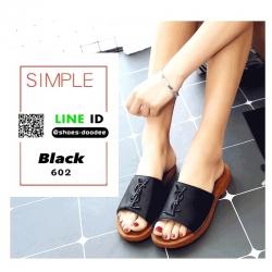 รองเท้าแตะผู้หญิง สไตล์YSL sandals 602-BLK [สีดำ]