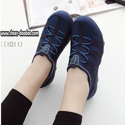 รองเท้าผ้าใบสีน้ำเงิน เพื่อสุขภาพ ที่เห็นแล้วLove พื้นยางอย่างดี ใส่ง่าย ถอดง่าย ไม่ต้องนั่งผูกเชือก