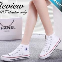 รองเท้าผ้าใบผู้หญิงสาว หุ้มข้อเท้า แบบเชือกผูก ทรงคลาสสิค ฮิตตลอดกาล แฟชั่นเกาหลี แฟชั่นพร้อมส่ง