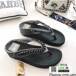 รองเท้าสุขภาพ Style Fitflop แบบคีบแต่งอะไหล่โซ่จีวองชี่ YT116-ดำ [สีดำ]