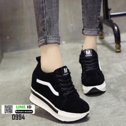 รองเท้าผ้าใบเสริมส้น แต่งข้าง VANS 0994-BLACK [สีดำ]