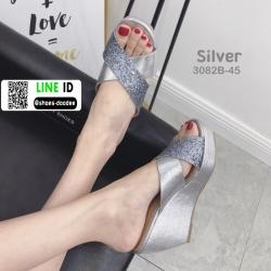 รองเท้าส้นเตารีด หน้าไขว้ กากเพชร 3082B-45-SIL [สีเงิน]