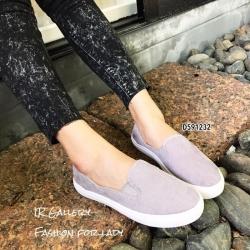 รองเท้าผ้าใบไร้เชือกสีเทา ผ้าลูกฟูก ดีไซน์สีพื้นสุดคลาสสิค (สีเทา )