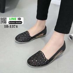 รองเท้าส้นเตี้ย สไตล์เกาหลี 18-1374-BLACK [สีดำ]