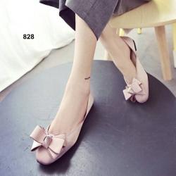 รองเท้าคัทชูส้นเตี้ย หัวตัด แต่งโบว์ (สีชมพู )