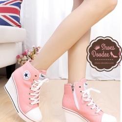 รองเท้าผ้าใบสีชมพู แฟชั่นเสริมส้น สไตล์ Converse สูงหน้า2.5 ซม. ส้นสูง8 ซม. มีซิปด้านข้าง สวมง่ายซักได้