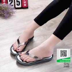 รองเท้าหูคีบพื้นเตี้ย งานสุขภาพ บุนวม 2300-เทา [สีเทา]