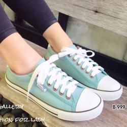 รองเท้าผ้าใบแฟชั่นสีเขียว ผ้าแคนวาส รุ่นคลาสสิค (สีเขียว )