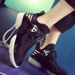 รองเท้าผ้าใบสีดำ สินค้านำเข้า ผ้ายืดตาข่าย ผสมผ้าแก้ว นน.เบา กระชับเท้า ไม่ปั๊มโลโก้