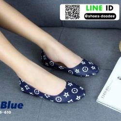 รองเท้าคัชชูหนังนิ่ม สไตล์แบรนด์ดัง LV flats B6-610-BLU [สีน้ำเงิน]