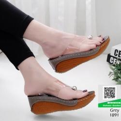 รองเท้าส้นเตารีดหูคีบหน้าใส แต่งมุกด้านหน้าสวยดูแพง 1891-เทา [สีเทา]