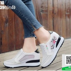 รองเท้าผ้าใบเสริมส้น ST010-BLK [สีดำ]