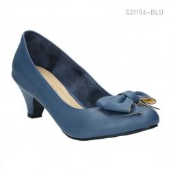 รองเท้าคัทชูส้นเตี้ย ทรงหน้าเชิด แต่งโบว์ (สีฟ้า )