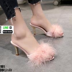 รองเท้าส้นสูงแบบสวมขนเฟอร์ ST6191-PNK [สีชมพู]