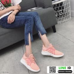 รองเท้าผ้าใบแฟชั่นงานผ้าระบายอากาศ 1718-PNK [สีชมพู]