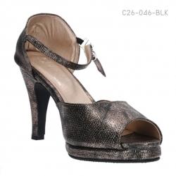 รองเท้าส้นสูงรัดส้น เปิดโชว์นิ้วเท้า (สีดำ )