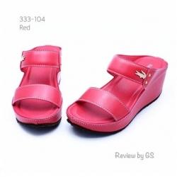 รองเท้าแตะส้นเตารีด สไตล์ลำลอง สายคาดสองตอน (สีแดง )