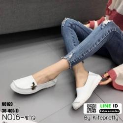 รองเท้าผ้าใบสุขภาพ หนังวัวแท้100% N0169-WHI [สีขาว]