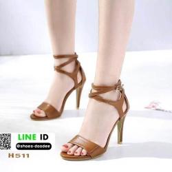 รองเท้าส้นเข็มรัดข้อ สไตล์ hermes H511-BWN [สีน้ำตาล]