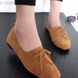 รองเท้าคัทชูส้นเตี้ย แบบผูกเชือก สักหราดนิ่ม ดูดีมีสไตล์ (สีน้ำตาล )