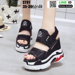 รองเท้าแฟชั่นส้นตึกรัดท้าย ST91-BLK [สีดำ]