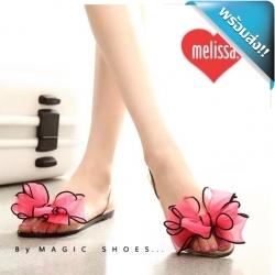 รองเท้าแตะรัดดส้นประดับดอกไม้ใหญ่ งานซิลิโคน (สีแดง)