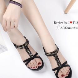 รองเท้าแตะรัดส้น ส้นขนมปัง สายรัดยางยืด ใส่กระชับเท้า (สีดำ )