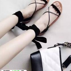 รองเท้าแตะสายคาดไขว้ หนังสักราจ G-1264-BLK [สีดำ]