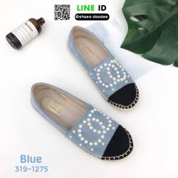 รองเท้าผ้าใบ Chanel Pearl Espadrilles 319-1275-BLU [สีน้ำเงิน]