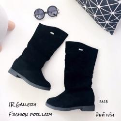 รองเท้าบูทยาว ถุงหน้าแข้ง B618-ดำ [สีดำ]