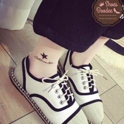 รองเท้าผ้าใบสีขาว งานCHANELคอเลคชั่นใหม่ล่าสุด ผ้าแคนวาส พื้นเสริมส้น1นิ้ว นน.เบาใส่สบาย