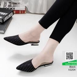 รองเท้าส้นเตี้ย ซาร่าห์หน้าเรียว ส้นทอง 10204-ดำ [สีดำ]