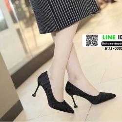 รองเท้าคัชชูส้นสูงหัวแหลมนำเข้า วัสดุผ้าซาติน BJJ-0001-BLK [สีดำ]