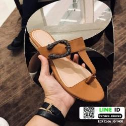 รองเท้าแตะหูหนีบ เท็กซ์เจอร์ลายเสือ G-1408-BWN [สีน้ำตาล]