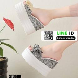 รองเท้าแบบสวมส้นตึก งานนำเข้า100% ST3609-CRM [สีครีม]