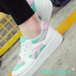 รองเท้าผ้าใบสีเขียว เสริมส้น ลำลอง สินค้านำเข้า100% เสริมส้น2นิ้ว เสริมความมั่นใจ พื้นยางกันลื่นอย่างดี