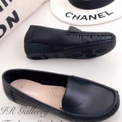 รองเท้าคัทชูเสริมส้น หนังนิ่ม ใส่สบายเท้า (สีดำ )