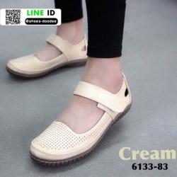 รองเท้าส้นเตี้ย สไตล์สุขภาพ 6133-83-CRE [สีครีม]
