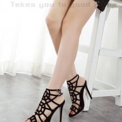 รองเท้าส้นสูง รัดข้อเท้า ดีไซส์สวยเปรี้ยว สไตล์สาวปาร์ตี้ (สีดำ )