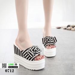 รองเท้านำข้าสไตล์เกาหลี ทรงเตารีด 0712-BLACK [สีดำ]