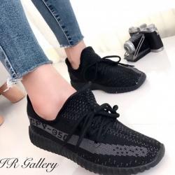 รองเท้าผ้าใบ สไตล์สปอร์ต ผ้าทอนุ่ม พื้นด้านในถอดได้ (สีดำ )