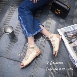 รองเท้าแตะรัดส้นสีครีม พันข้อ เส้นสานหน้า (สีครีม )
