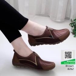 รองเท้าผ้าใบเกาหลี soft&comfort 8262-น้ำตาล [สีน้ำตาล]