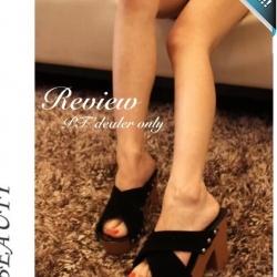 รองเท้าส้นตึกผู้หญิงสีดำ สายไขว้ โชวน์นิ้วเท้า ใช้หมุดยึดเพิ่มความทนทาน เก๋ไก๋ แฟชั่นเกาหลี แฟชั่นพร้อมส่ง