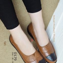 รองเท้าคัทชูเพื่อสุขภาพ สีทูโทน หนังเย็บ (สีน้ำตาล )