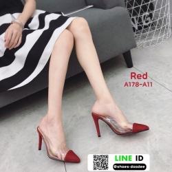 รองเท้าส้นสูงหัวแหลม สักหราด A178-A11-RED [สีแดง]