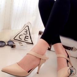 รองเท้าส้นสูงรัดส้น แปะเฉียง (สีครีม )