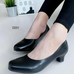 รองเท้าคัทชูหัวตัด ทรงสุภาพ (สีดำ)