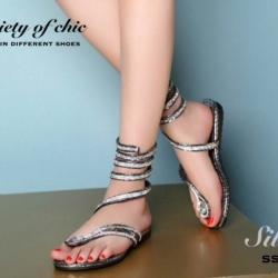 รองเท้าแตะพันข้อสีเงิน ลายงูประดับเพชร สไตล์ gladiater (สีเงิน )